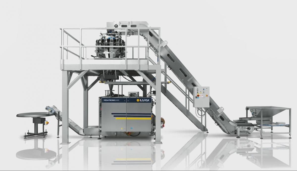 Complete verpakkingslijn met Vegatronic 6000 en Weightronic 16-10 voor verticale pillowverpakking