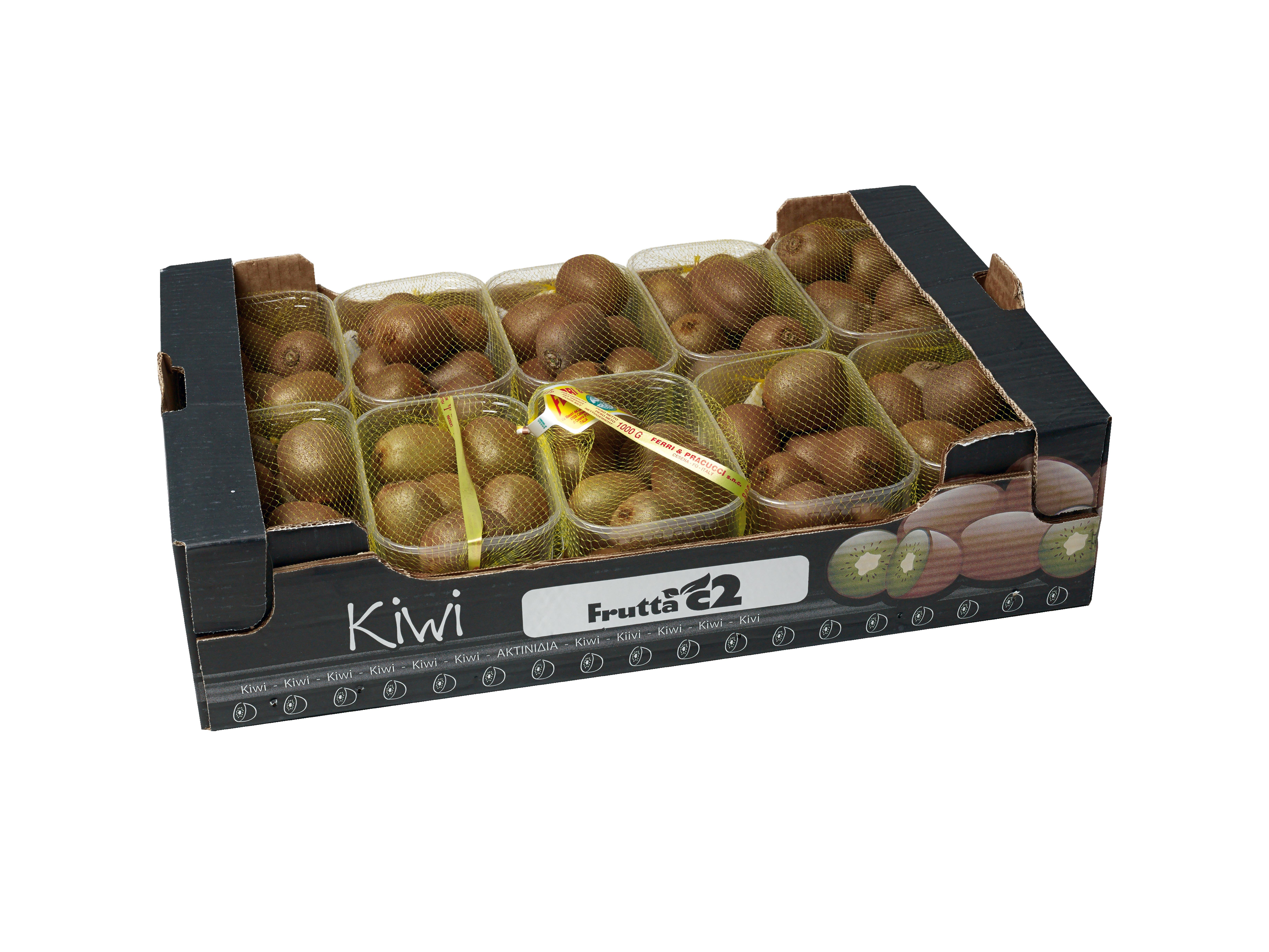 Punnets met kiwi in kartonnen doos