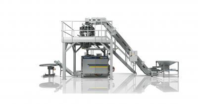 Complete verpakkingslijn IMA-Ilapak rondkopweger en verticale flowpacker